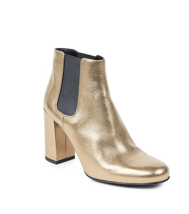 Saint Laurent Metallic Leather Booties