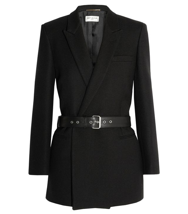 Saint Laurent Belted Double-Breasted Wool-Twill Blazer