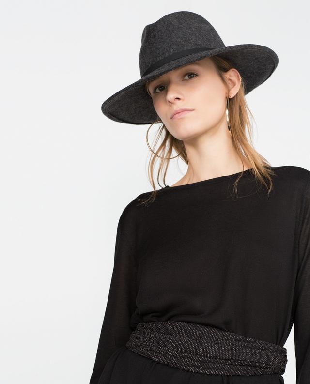Zara Wide Brim Hat in Dark Grey