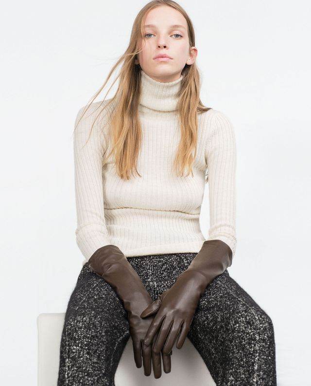 Zara Long Leather Gloves in Brown