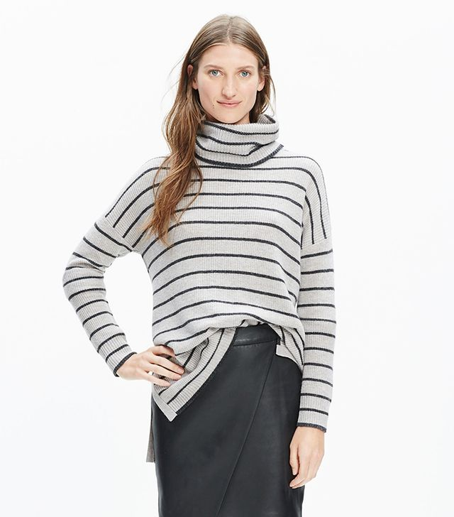 Madewell Ribbed Turtleneck Sweater in Stripe