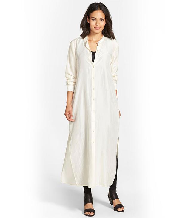 Eileen Fisher Sand Washed Habutai Silk Maxi Dress