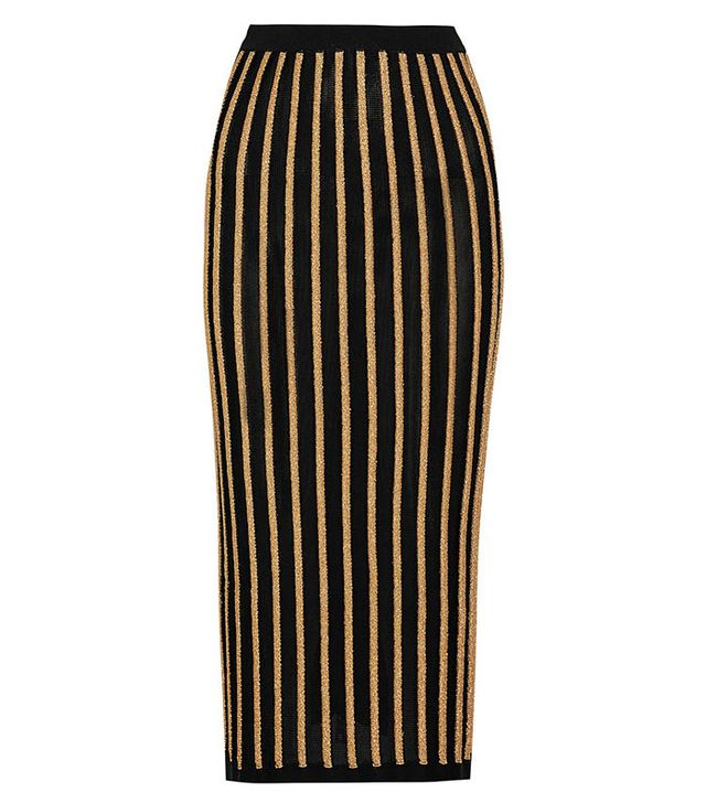 Balmain Striped Stretch-Knit Skirt