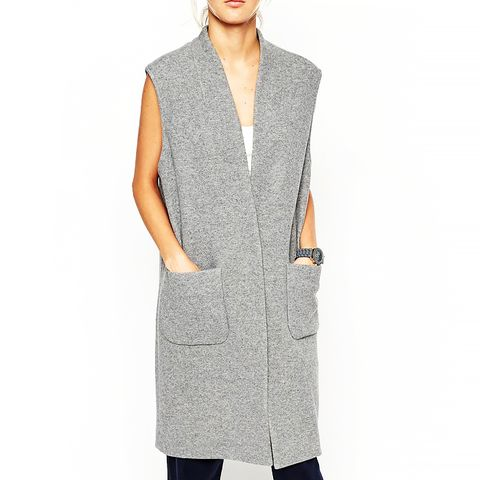 White Sleeveless Vest in Wool