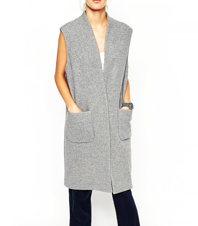 ASOS White Sleeveless Vest in Wool