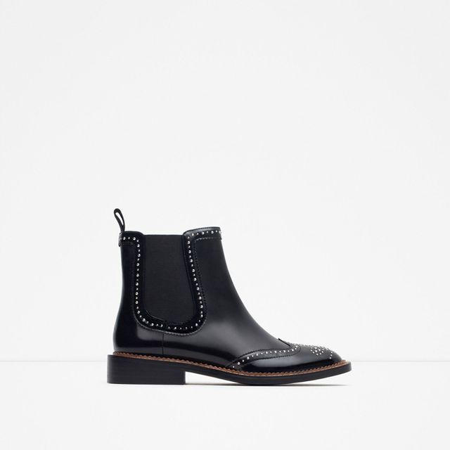 Zara Micro-Studded Flat Leather Booties