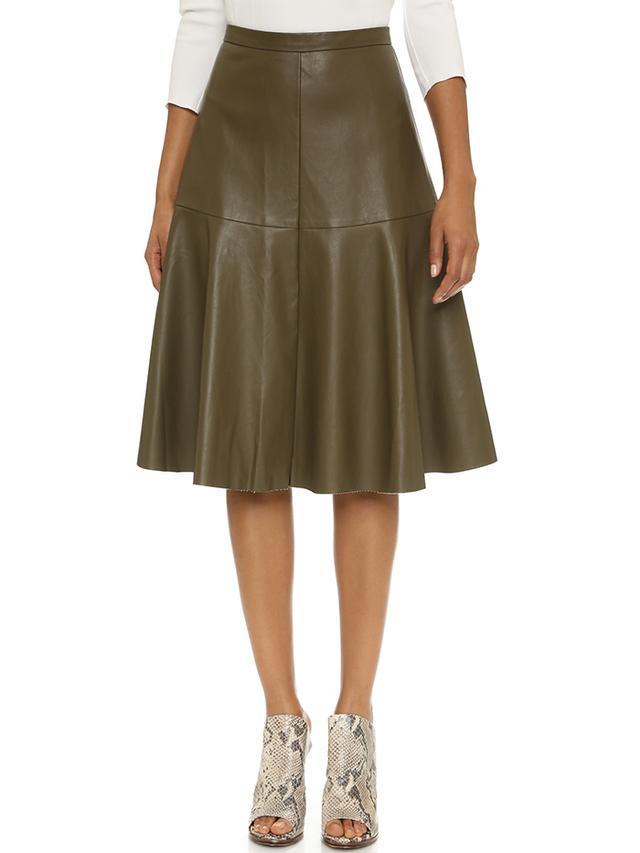 J.O.A. A Line Faux Leather Skirt