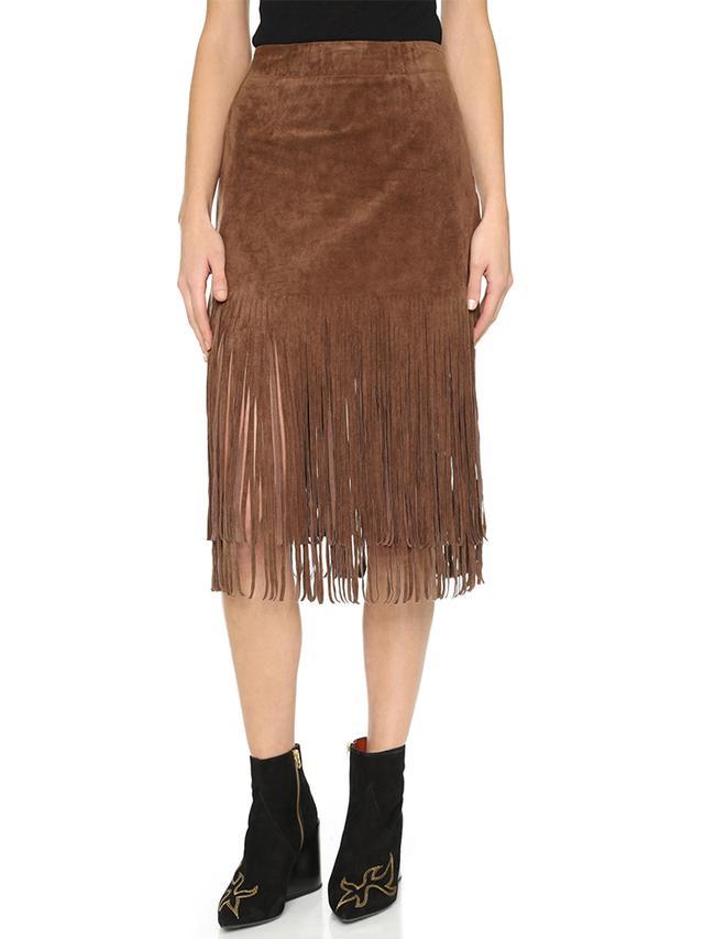 J.O.A. Fringe Contrast Skirt