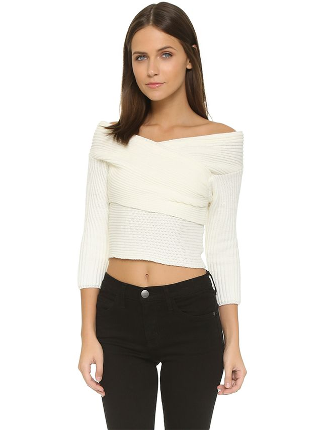 Line & Dot Wrap Sweater Top