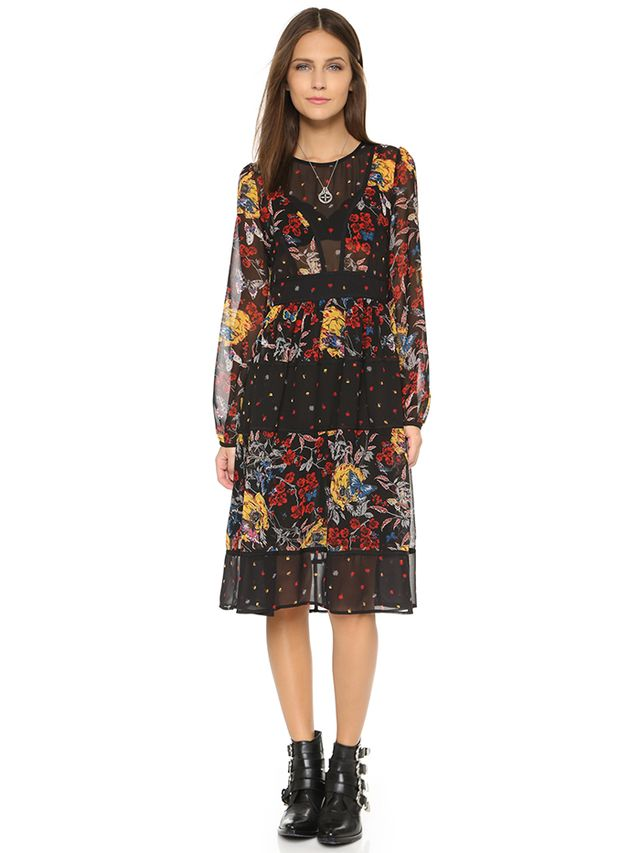 Re:Named Mixed Print Dress