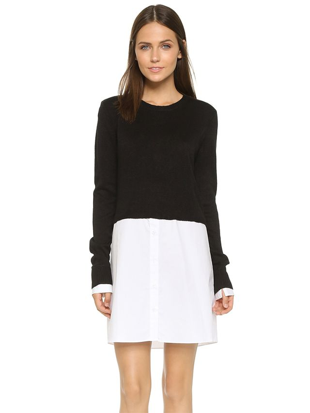 Re:Named Sweater Layer Shirt Dress
