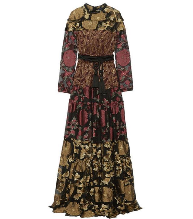 Lanvin Paneled Metallic Fil Coupé Crepe and Silk-Blend Maxi Dress