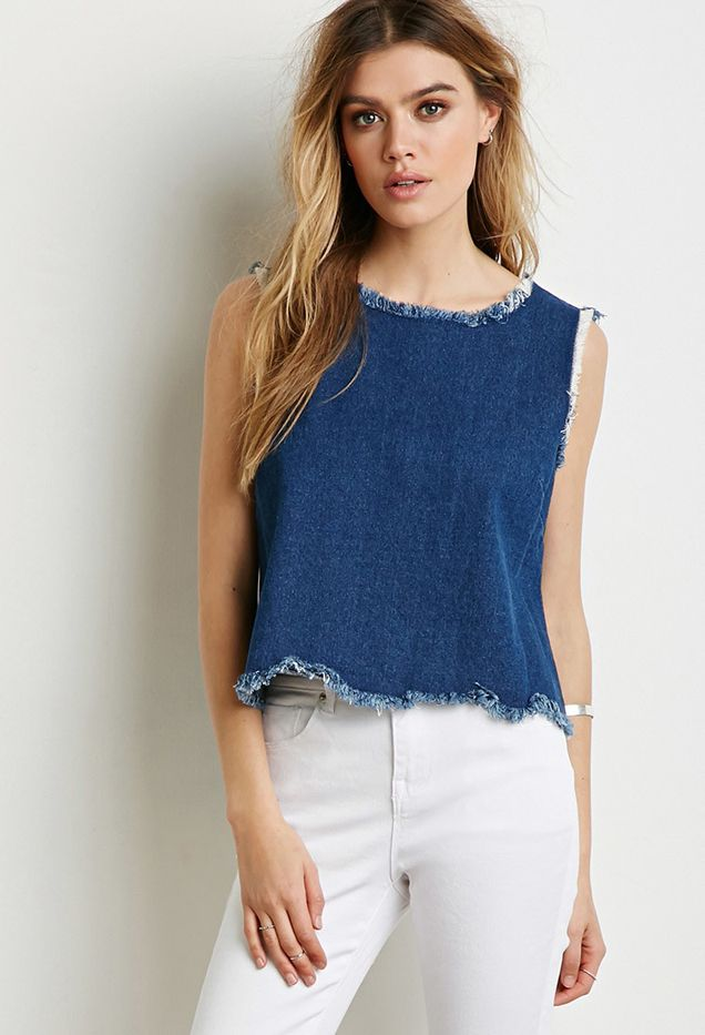 Forever 21 Frayed-Trim Denim Top