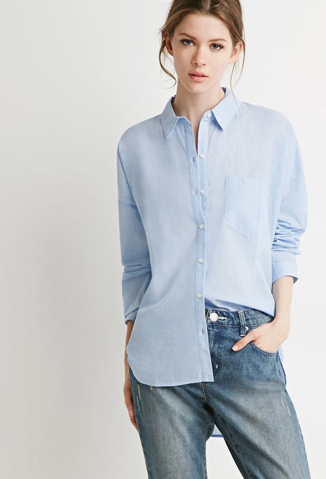 Forever 21 Contemporary Micro-Stripe Oversized Shirt