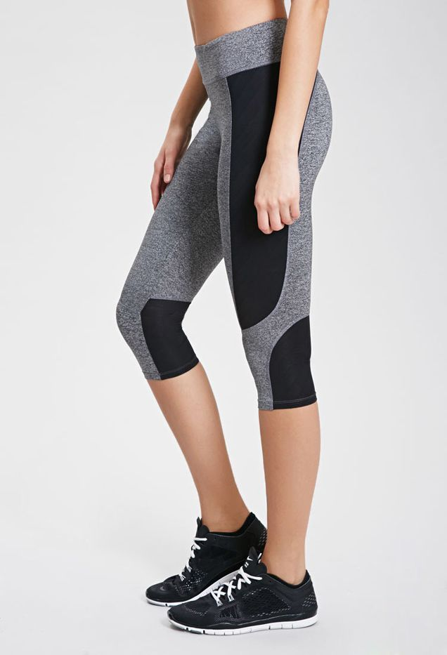 Forever 21 Mesh-Paneled Capri Leggings