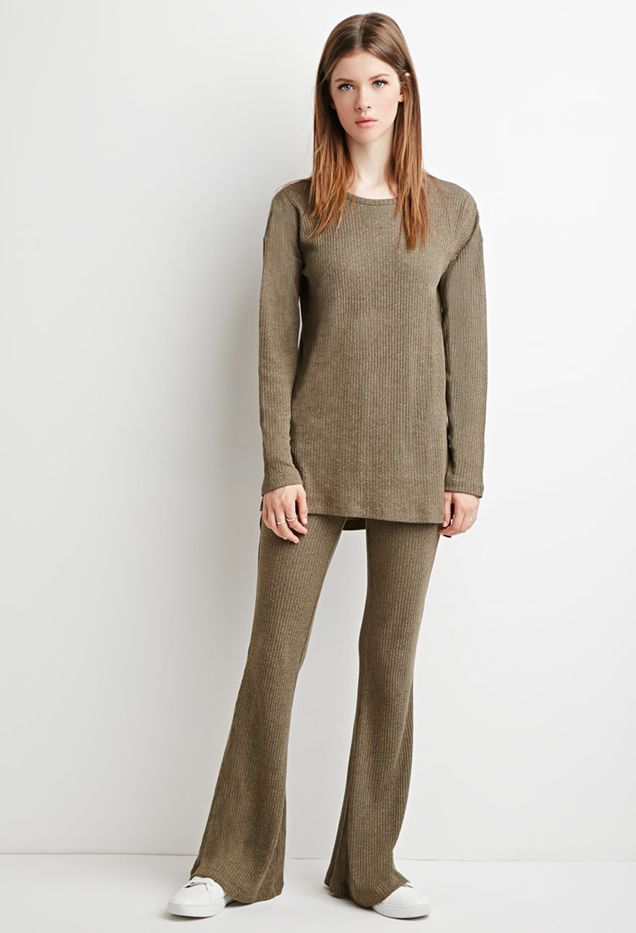 Forever 21 Marled Knit Flared Pants