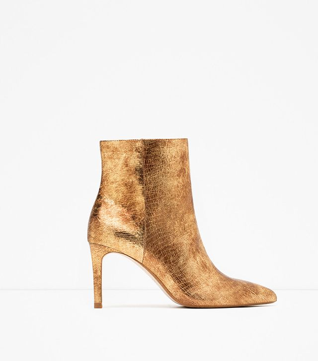 Zara Shiny Leather High Heel Ankle Boots