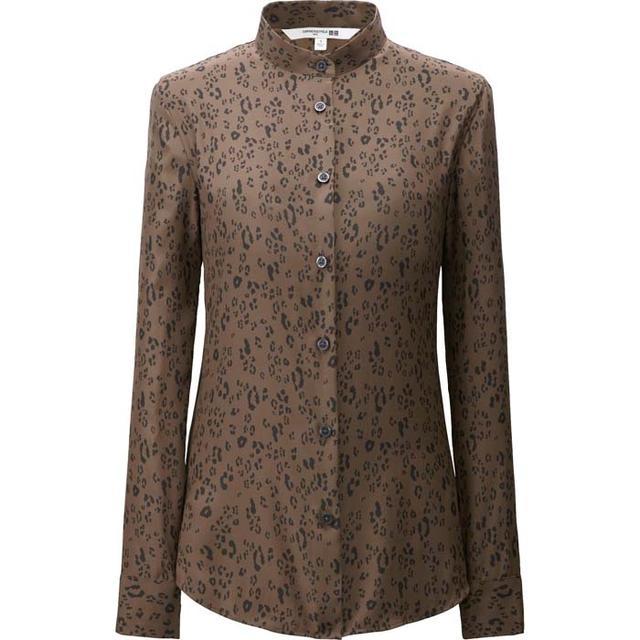 Carine Roitfeld x Uniqlo Silk Printed Stand Long Sleeve Shirt