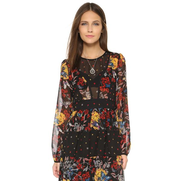 Re:Named Mixed Print Dress in Black