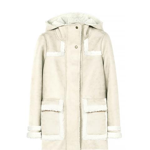 Gazelle Faux Treated Sheepskin Coat With Hood