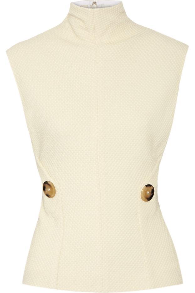 Victoria Beckham Textured Stretch Wool-Blend Top