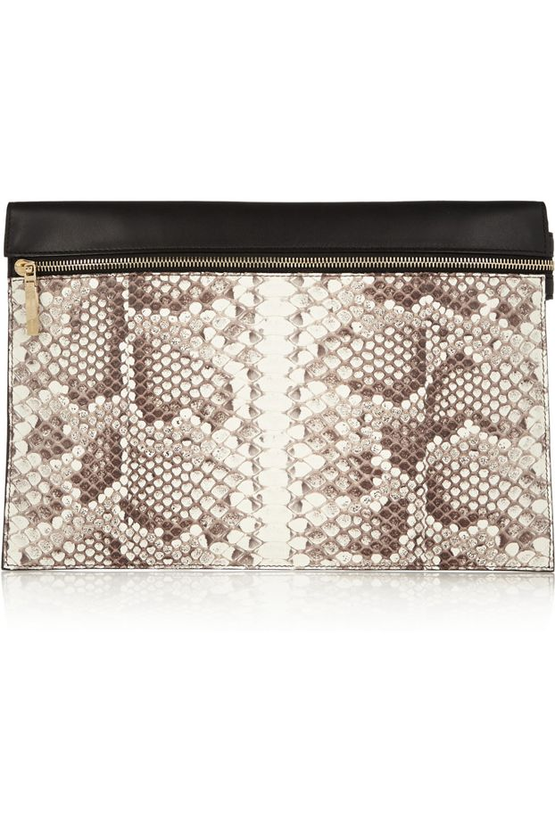 Victoria Beckham Python and Leather Clutch