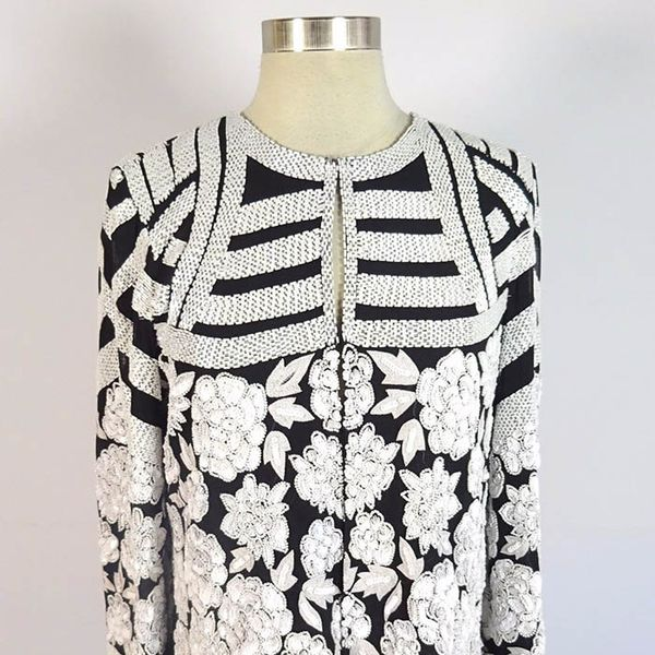 Le Lis Blanc Black and White Beaded Detail Jacket