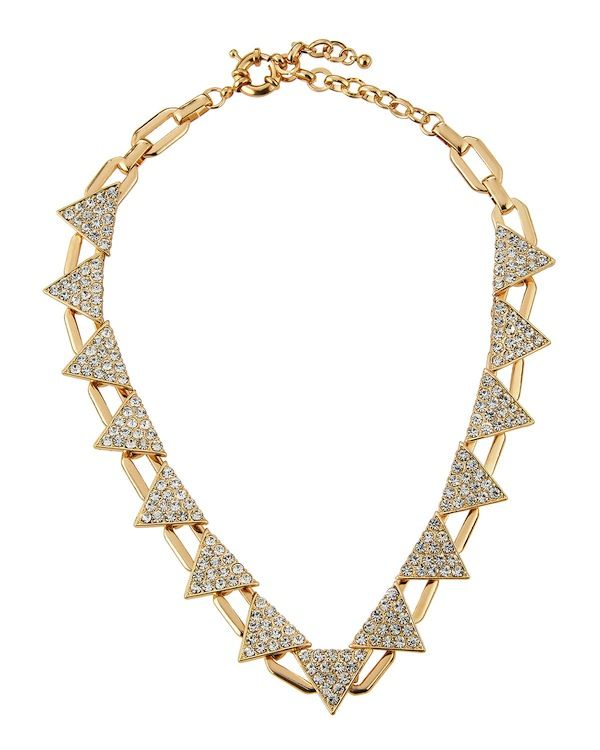Panacea Golden Pave Triangle-Station Collar Necklace