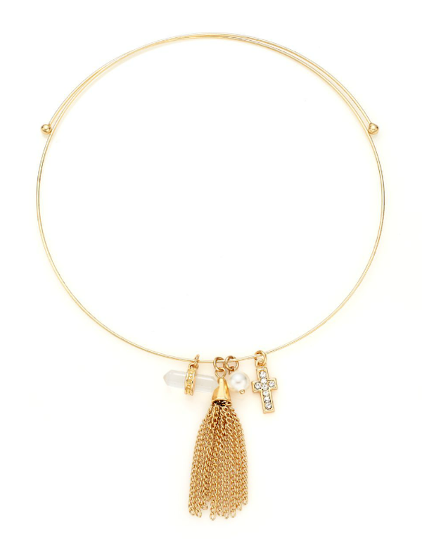 BCBGeneration Charmed Choker Faux Pearl & Tassel Necklace