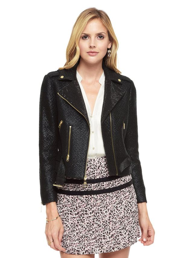Juicy Couture Coated Boucle Embellished Moto Jacket
