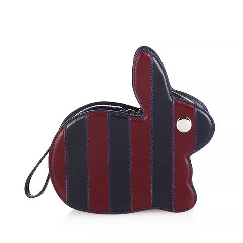Bunny Striped Leather Clutch