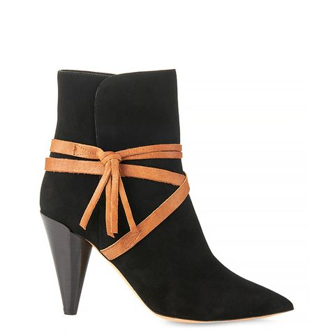Nerys Wraparound Suede and Leather Ankle Boots