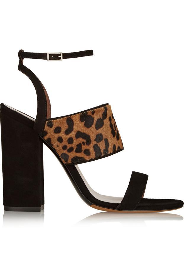 Tabitha Simmons Stevie Leopard-Print Calf Hair and Suede Sandals