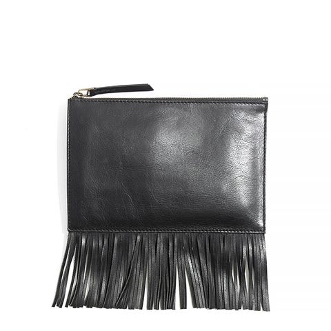 Leather Fringe Pouch Clutch