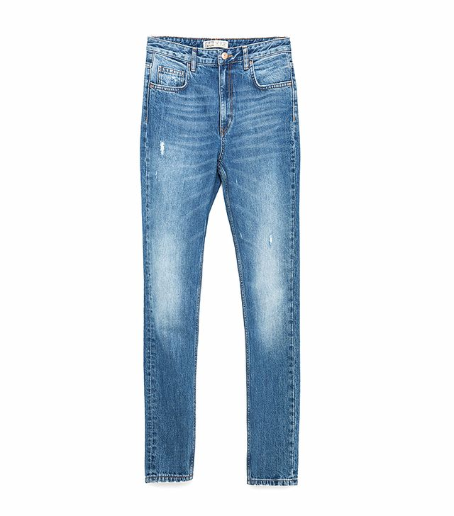 Zara High-Rise Tapered Jeans