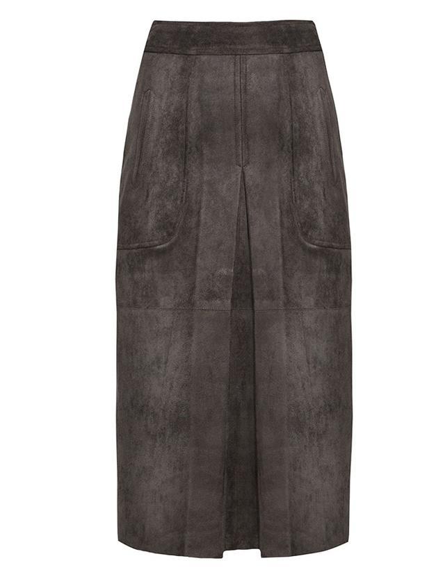 Pixie Market Olive Suede Kick Pleat Midi Skirt