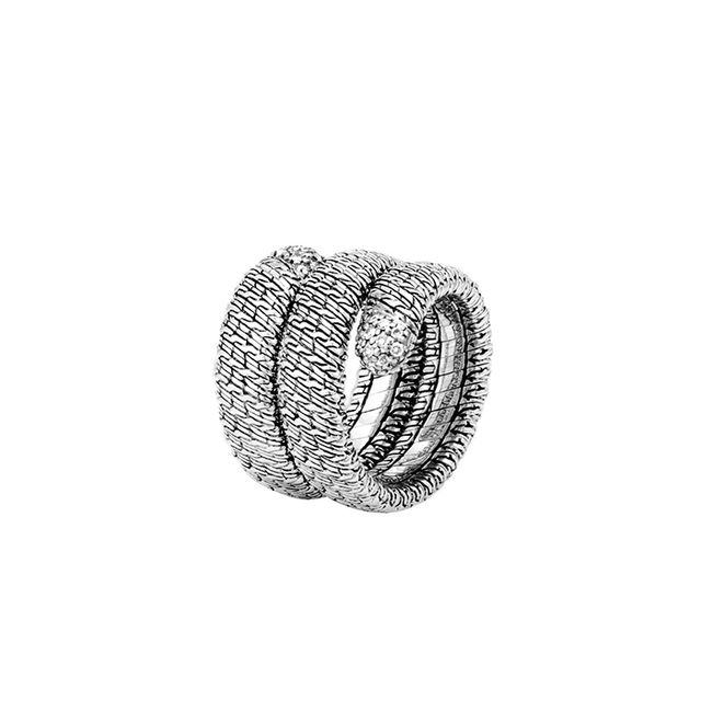 John Hardy Classic Chain Silver Diamond Pavé Double Coil Ring