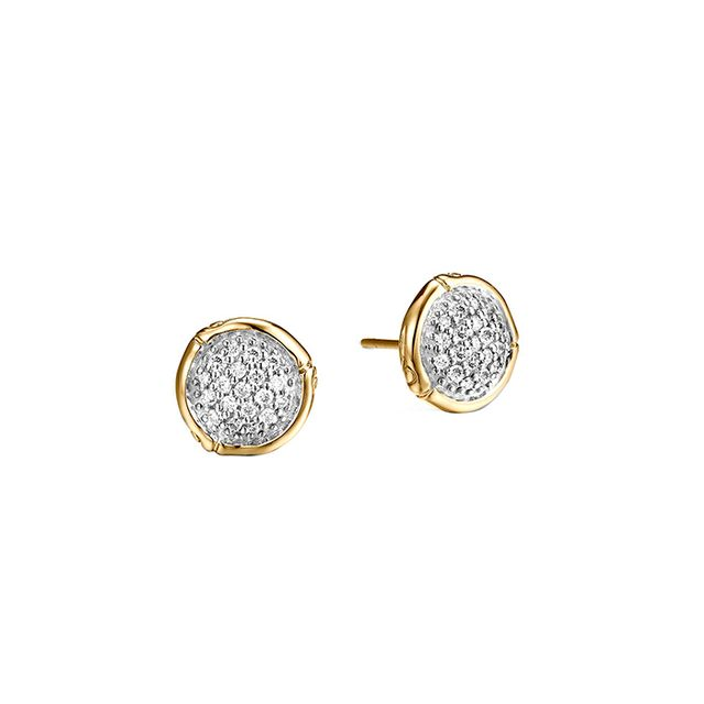 John Hardy Bamboo 18K Gold Small Round Stud Earrings with Diamond
