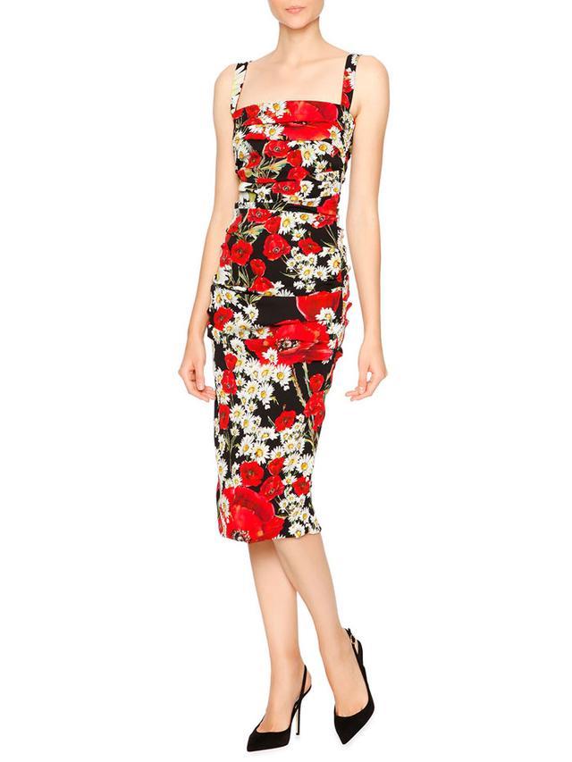Dolce & Gabbana Poppy & Daisy Folded-Pleat Sheath Dress