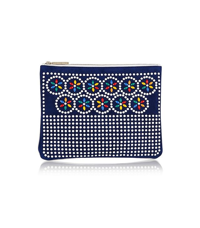 Tabitha Simmons Embellished Suede and Leather Pouch