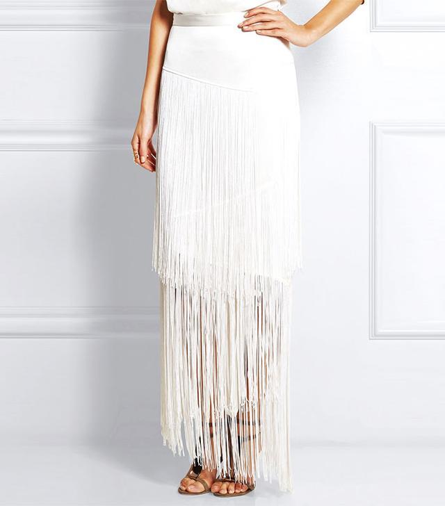 Tamara Mellon Fringed Silk-Charmeuse Skirt