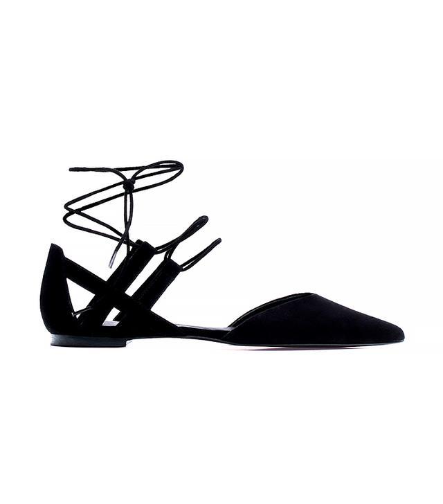 Massimo Dutti Black Lace-Up Ballet Flats