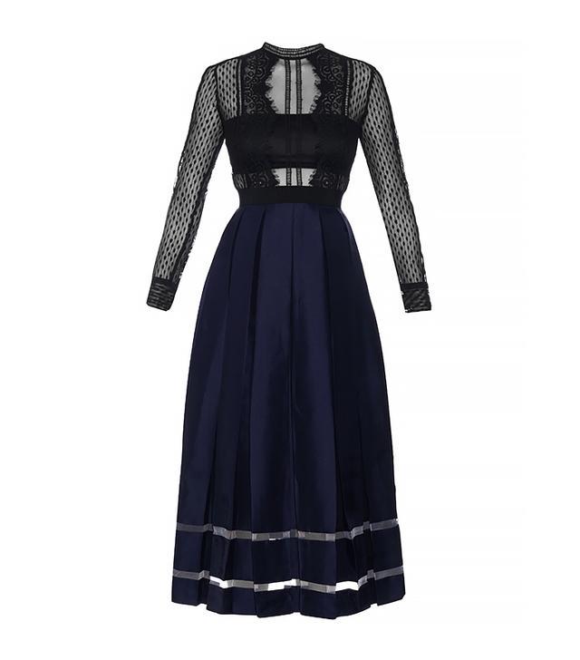 Self-Portrait Sheer-Lace and Box-Pleated Midi Dress