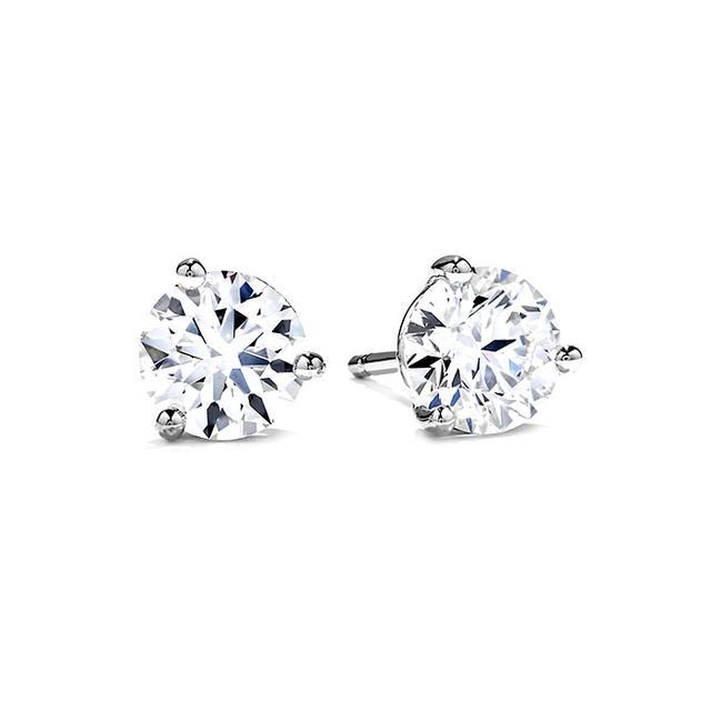 Hearts On Fire Three Prong Stud Earrings