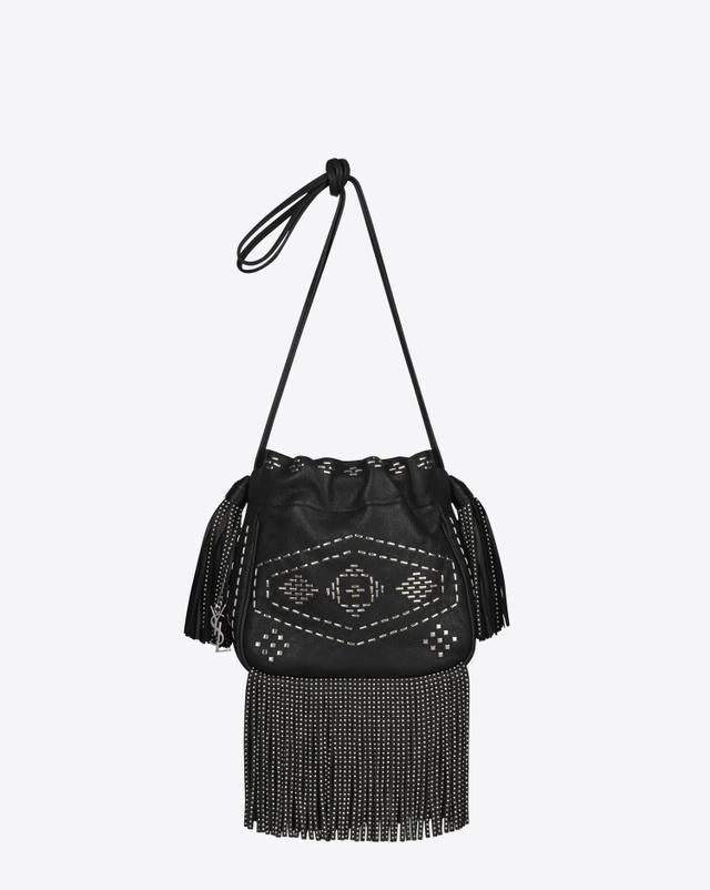 Saint Laurent Small Helena Fringed Bucket Bag