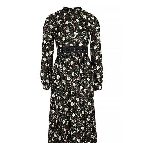 Woodland Print Lattice Waist Dress