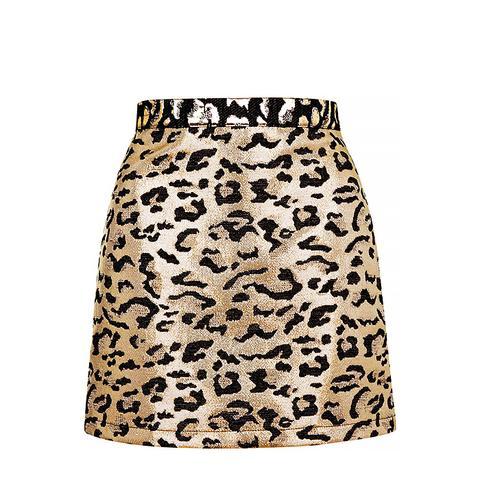 Metallic Leopard Print A-Line Skirt