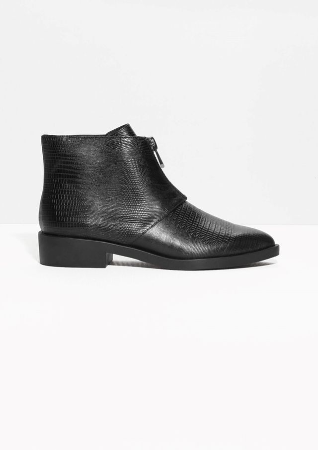 & Other Stories Reptile-Embossed Ankle Boots