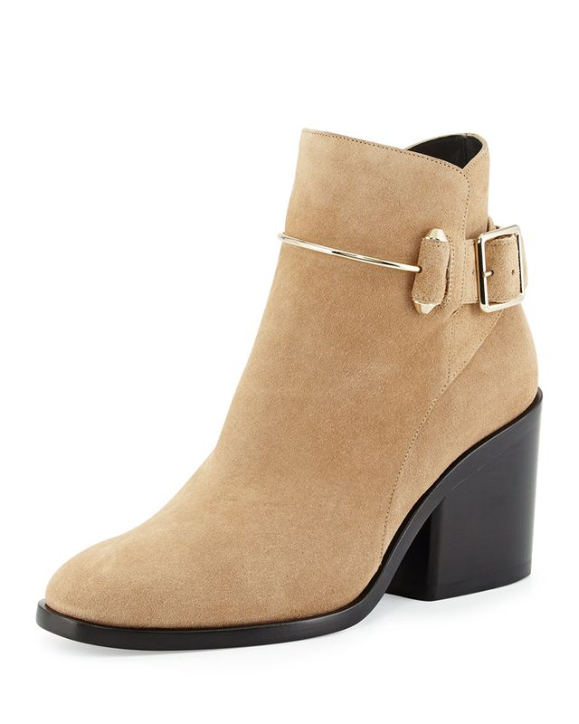 Balenciaga Suede Chunky-Heel Ankle Boot in Camel