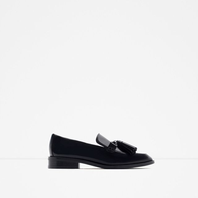 Zara Leather Loafers With Tassles